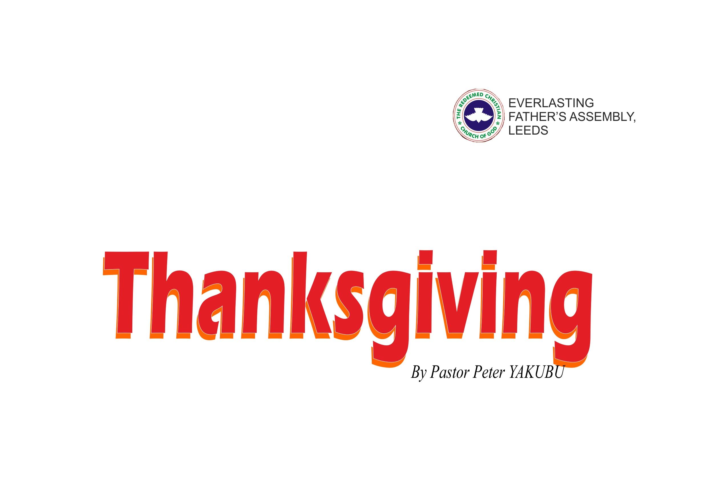 Thanksgiving, by Pastor Peter Yakubu