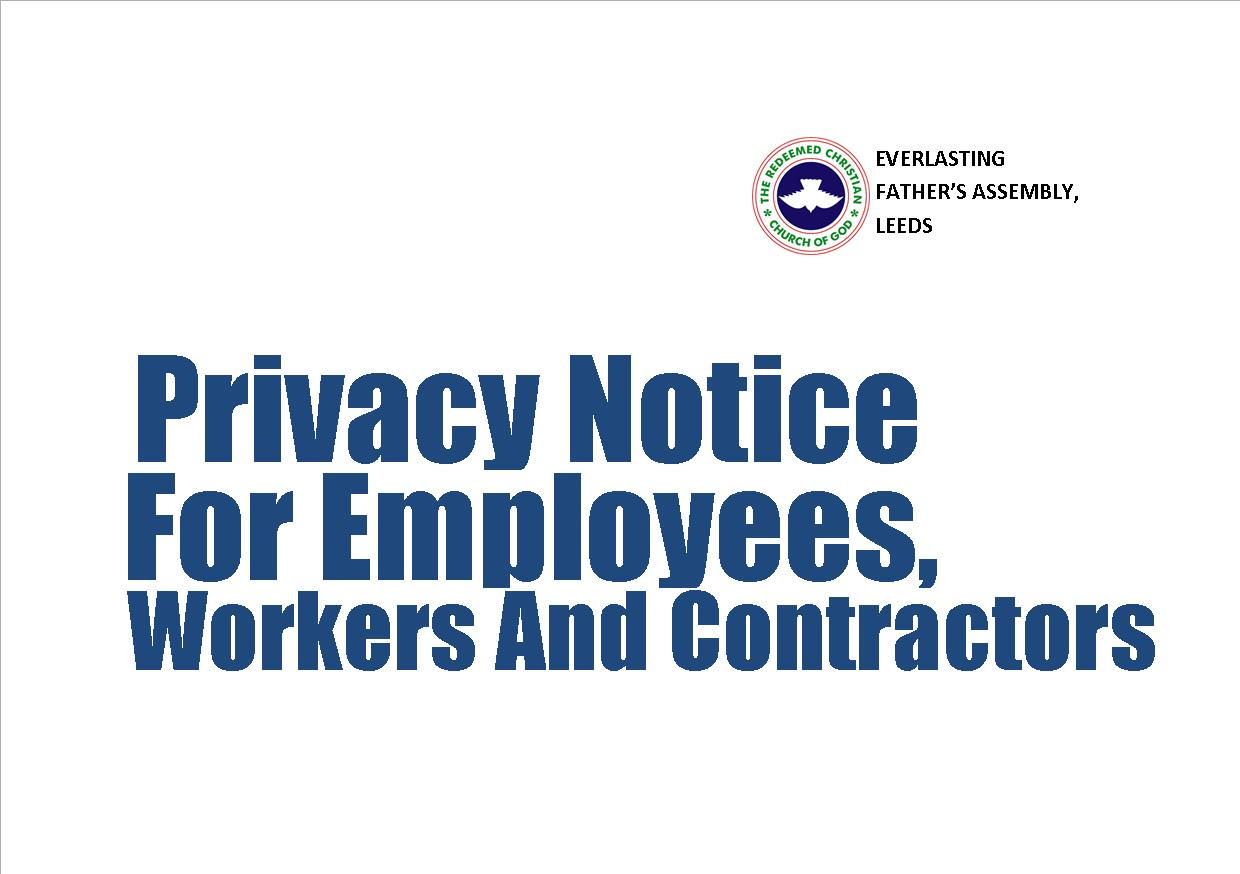 RCCG EFA Leeds' Privacy Notice for Employees, Workers and Contractors