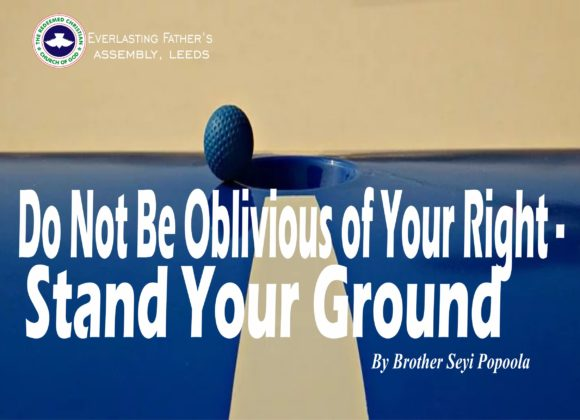Do Not Be Oblivious of Your Right – Stand Your Ground, by Brother Seyi Popoola